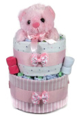 Sunshine Gift Baskets - Little Teddy Bear - Pink Nappy Cake Gift Set