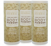 Natural Body Powder, 70mls Pack of 3, Dusting Powder No Talc, Corn, Grain or Gluten, Sweet Love Scent (Essential Oils Only, No Synthetic Fragrance), non GMO, Made In The USA, Ora's Amazing Herbal