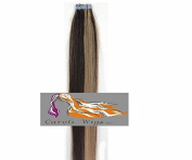 CarolsWigs® Best Quality 46cm Medium Brown Mix Strawberry Blonde 4/27 Tape-In 100% Premier Remy Human Hair Extensions 5A* UK Seller