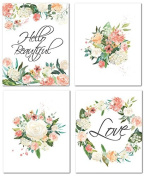 "20cm x 10"" Flower Nursery Prints for Baby Girl Room Decor & Decorations Perfect for Baby Shower Gift Ideas"