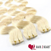 40 x 2.5g Curly Remy Tape in/on Hair Extensions Skin Weft 40 cm/Available in a Range of Colours Beautiful Quality. #60 Platinblond
