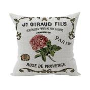 Nunubee Words Printed Soft Pillowcase Cotton Cushion Cover Square Decorative Home Accessories Rose