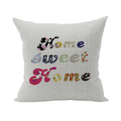 Nunubee Words Printed Soft Pillowcase Cotton Cushion Cover Square Decorative Home Accessories Sweet Home