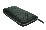 MuLier Genuine Soft Leather Weave Long Zipper Mens Wallet