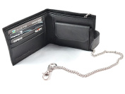 New Black Leather Men's Chain & Clip Bifold Wallet Credit Card ID Holder Coin Purse