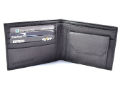 New Black Leather Men's Slim Bifold Wallet Credit Card ID Holder Coin Purse