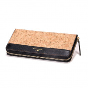 Cork Wallet, Shinmax Zip Around Purse Slim Vintage Super Lightweight Made From Natural Vegan Cork Wallet For Money, Phone,Credit Cards & ID - A Great Eco Friendly Gift