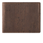 Cork Wallet Coin Pocket, RFID Blocking Vegan Wallet for Men, Non-Leather Brown Colour