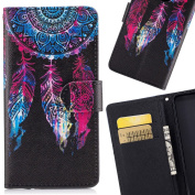 LEMORRY for Samsung Galaxy J7 Prime Case Leather Flip Wallet Pouch Slim Fit Bumper Protection Magnetic Strap Stand Card Slot Soft TPU Cover for Galaxy J7 Prime / Galaxy On Nxt, Dreamcatcher