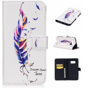 For Samsung Galaxy S8 Plus Case [with Free Screen Protector], Qimmortal(TM) Premium PU Leather Wallet Case Stand Book Type Style Cover with [Lanyard Strap] and [Credit Card Holders Slots] Flip Folio Magnetic Detachable Button Protective Case Cover for ..