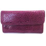 Leather wallet + chequebook holder 'Frandi' purple (leopard).