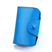 MuLier Genuine Leather Women Card Holder Button Closure Cash Credit Card Holder