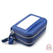 MuLier Top Genuine Leather Women Cash Purse RFID Blocking Anti-Theft Front ID Window Double Zipper Around Card Holder