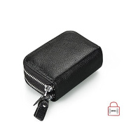 MuLier Top Grain Genuine Leather Double Zipper Around RFID Blocking Anti-theft Women Card Holder Purse