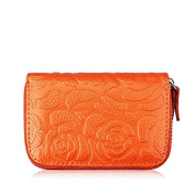 MuLier Genuine Leather Women Slim Coin Pouch Zipper Purse Credit Card Case Holder Wallet With Embossed Flower Pattern