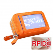 MuLier Genuine Leather RFID Blocking Coin Pouch Card Holder Wallet - Prevent Electronic Credit Card Scan Theft Orange