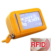 MuLier Genuine Leather RFID Blocking Coin Pouch Card Holder Wallet - Prevent Electronic Credit Card Scan Theft Yellow