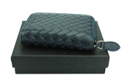 MuLier Genuine Full Grain Leather Weave Zipper Soft Leather Card Holder Small Purse