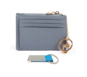 T & D Women's Genuine Leather Slim Credit Card Keychain Wallet
