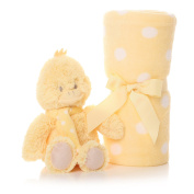 Hush Little Baby Yellow Coloured Duck Soft Toy and Baby Blanket in Gift Box