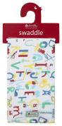 Piccalilly Organic Cotton Multicoloured Unisex Alphabet Print Muslin Swaddle