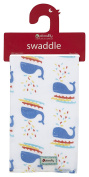 Piccalilly Organic Cotton Multicoloured Baby Boys Whale Print Muslin Swaddle