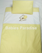Babies Paradise Applique 2 Piece Baby Bedding Set with Bear Design Yellow