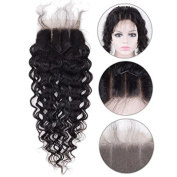 Auspiciouswig Curly 3 Part Lace Closure 4x 4 Brazilian Human Hair Closure Piece with Baby Hair Natural Black Colour