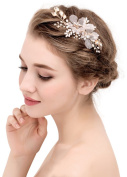 Bellady Wedding Bridal Golden Floral Hair Clips With Bling Rhinestone Prom Accessories