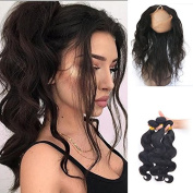 360 Lace Frontal with 3Bundles Body Wave Brazilian Virgin Hair 360 Lace Frontal Closure Free Part