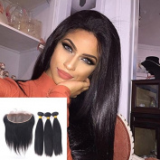 7A Brazilian Straight Ear to Ear Lace Frontal 13x4 Closure Free Part With Virgin Hair 3 Bundles