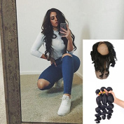 Ear to Ear 360 Lace Frontal Loose Wave 360 Band Closure With Virgin Peruvian Hair 3 Bundles