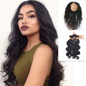 Brazilian Virgin Hair 360 Lace Frontal Ear to Ear Band Closure With Body Wave 3 Bundles Wholesale