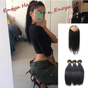 360 Lace Frontal Closure With Baby Hair 360 Band With Brazilian Virgin Hair Straight 3 Bundles