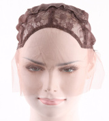 Keepyonger Swiss Lace Front Wig Cap Dark Brown Cap with Adjustable Strap for Making Wigs