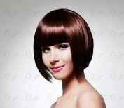 5I Short Straight Brown Bob Hair Wigs Heat Resistant Wig Synthetic Wigs for Women Natural Looking with Wig Cap Z060