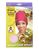 Qfitt Organic Argan Oil and Shea Butter Treated Premium Fabric Open Top Adjustable Hook and loop Foam Wrap Pink