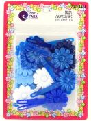Tara Girls Self Hinge Flower Barrettes - Blue & White - 18 Pcs.