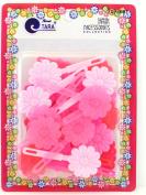 Tara Girls Self Hinge Flower Barrettes - Shades Of Pink - 18 Pcs.