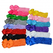 Bzybel 14pcs Boutique 7.6cm Pinwheel Hair Bows Clips Headbands,Barrettes Hair Accessories for Keens Girls Womens