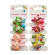 8Pcs Colourful Owl Hair Holder Kids Toddler Hair Rope Girl Kids Hair Holder Ponytail Elastic
