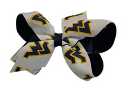 WV West Virginia Mountaineers NCAA Two Tone Hair Bow with Barrette