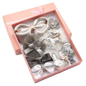 10Pcs Baby Toddler Girls Different Style Hair Clips Hair Bows Set with Box Ribbon Lined Alligator Hair Clips Best Gift for Kids Baby-Grey
