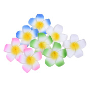 "Kloud City Pack of 8 in 4 Assorted Colours Dia 2.75"" Foam Hawaiian Frangipani Hair Clip , Florida Beach Plumeria Wedding Flowers Bridle Hair Clip Accessory"