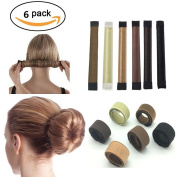 Tmalltide 6 Pack DIY Women Girls Hair Bun Maker French Twist Donut Bun Hairstyle Hair Fold Wrap Snap