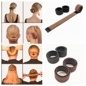 LAUREN STORE, 1pc BLACK Hair Bun Updo Wrap Snap Fold DIY Hair Accessory Styling Tool