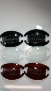 6 set Interlocking Banana Combs Hair Clip French Side Comb Holder (2Black-2Brown-2Clear).