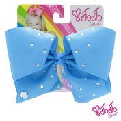 JoJo Siwa Signature Collection Hair Bow with Rhinestones - Neon Blue With Sticker Patch Set Included