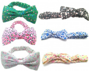 6pcs/set Girls Floral Printing Bow Hair Hoops Headbands Elastic Hair Band Set Hair Accessory