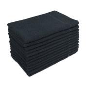 for Altima Plus Bleach Safe Salon Towels, Black, Pack of 12